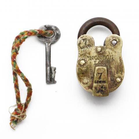 "Old Brass Padlock ""S"""